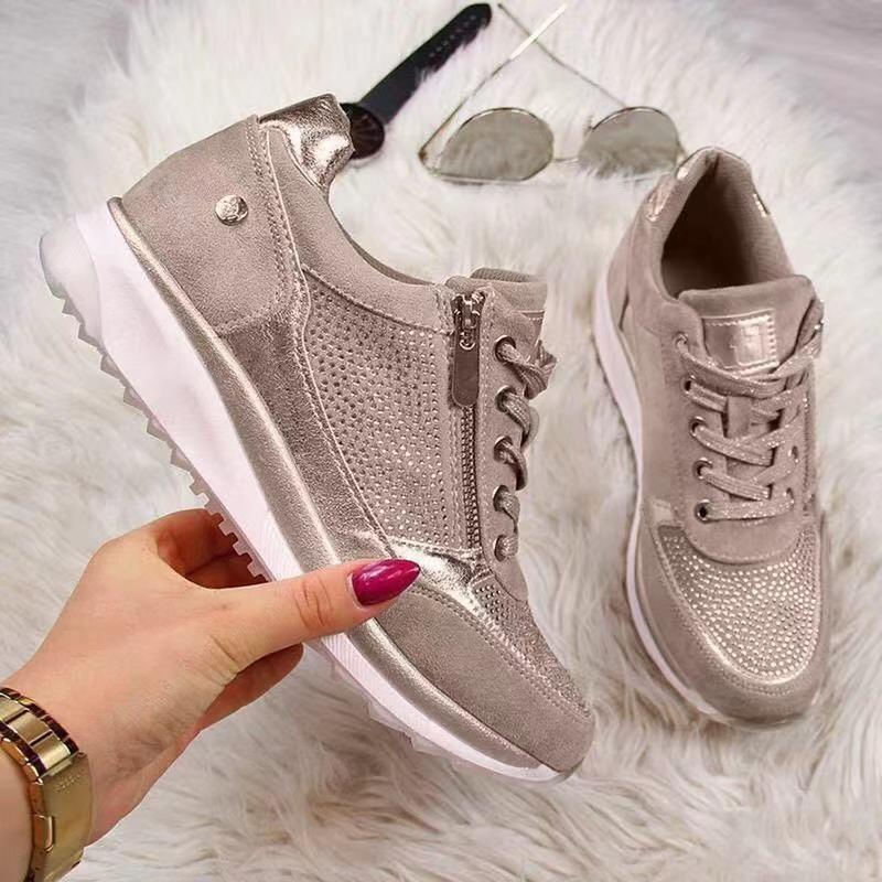 Women Casual Shoes 2020 New Fashion Wedge Flat Shoes Zipper Lace Up Comfortable Ladies Sneakers Female Spring Vulcanized ShoesWomens Vulcanize Shoes   -