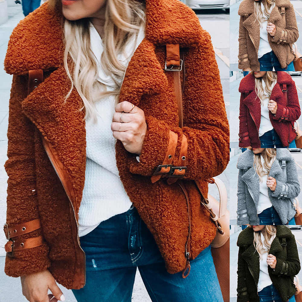 Wipalo Women'S Fashion Faux Fur Coat Autumn Winter Warm Plush Teddy Coat Female Plus Size Overcoat Lapel Zip Up Bear Jacket