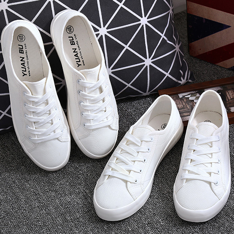 Women Sneakers Classic White Canvas Shoes Ladies Casual Lace Up Trainers Flats Female Slip On Vulcanize Shoes Tenis Feminino