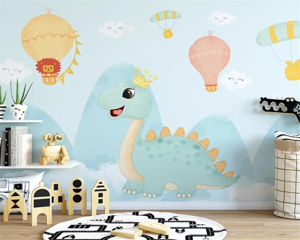 Фотообои на заказ, самоклеящиеся водонепроницаемые обои в стиле ретро, с изображением динозавра, спальни, ручная роспись