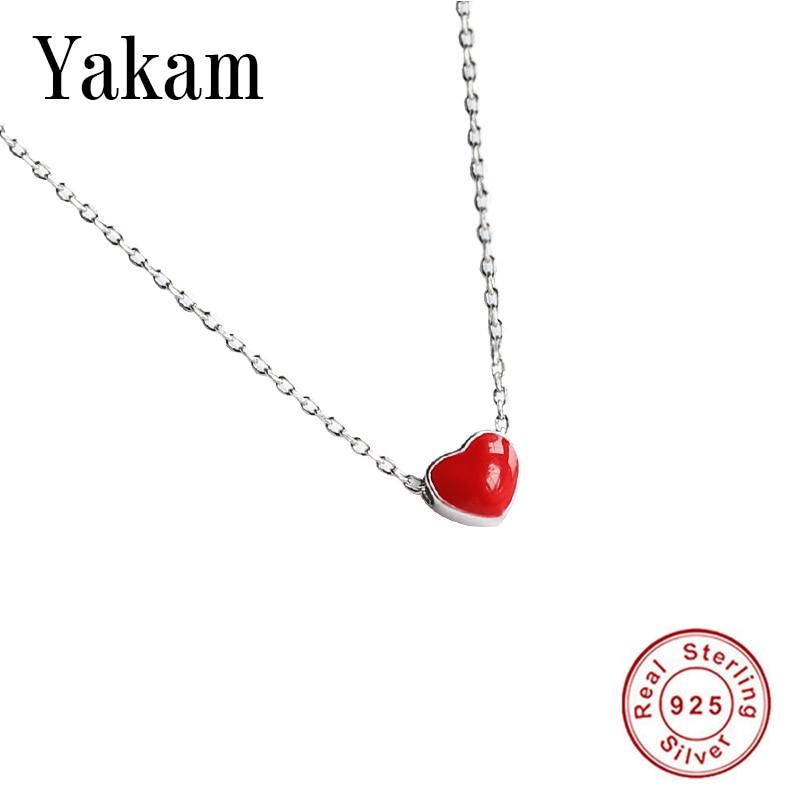 Red Enamel Glaze Heart Dangle 925 Sterling Silver Necklace Women Fashion Collares Cute Pendant For Girl Gift Bayan Kolye Jewelry