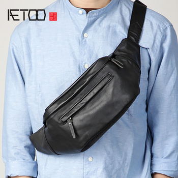 AETOO Head leather retro trend chest bag, multi-functional men's shoulder bag, leather casual sports stiletto bag aetoo leather men s chest bag head leather fashion casual shoulder bag trendmen s stiletto bag