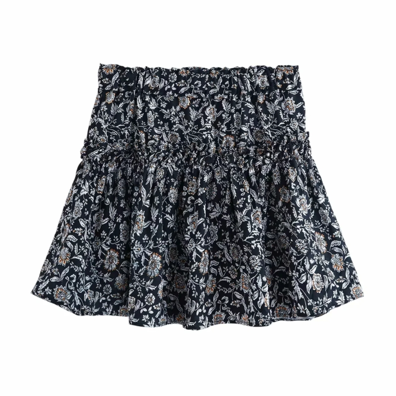 New 2020 Women Floral Print High Elastic Waist Pleated Mini Skirt Faldas Mujer Ladies Ruffles Vestidos Casual Slim Skirts QUN572
