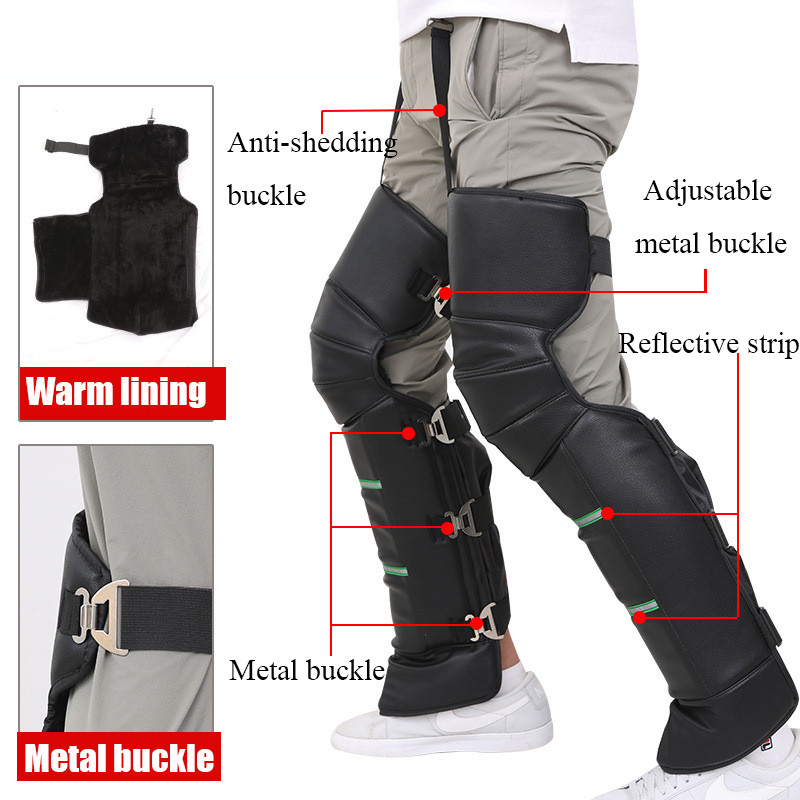 Knee Pads Motorcycle Riding Knee Pads For Antumn And Winter Long Leggings Protective Gear Black PU Knee Pads