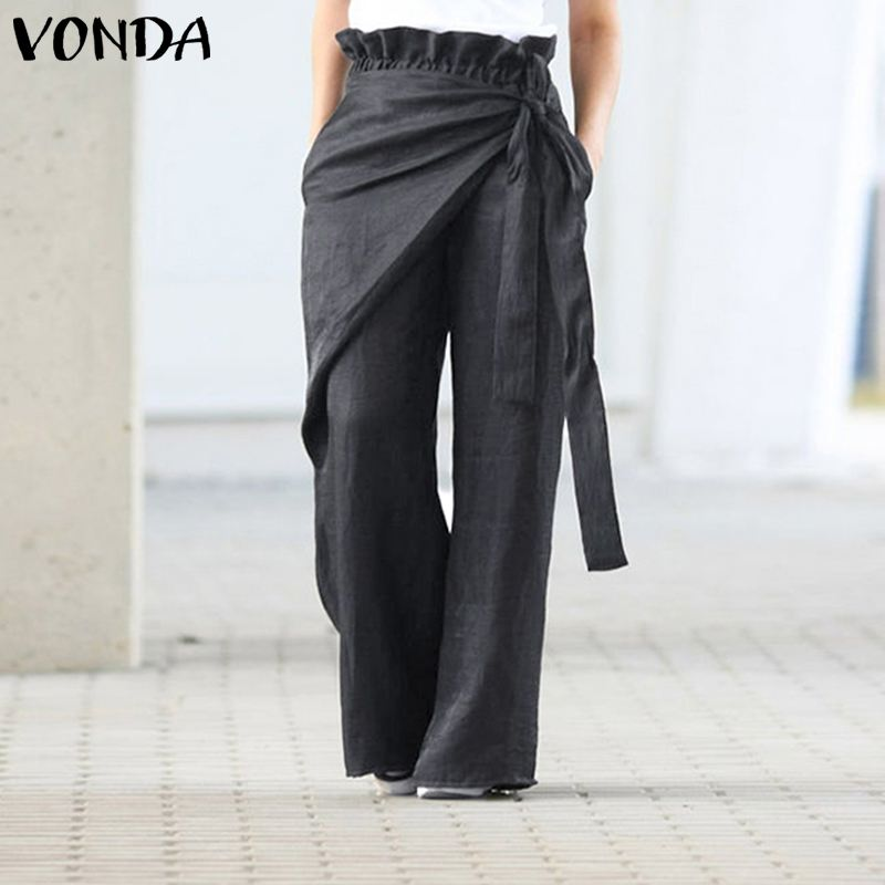 VONDA Women Wide Leg Pants 2020 Spring Summer Female Casual Elastic Waist Pants Women's Trousers Plus Size Bottom Pantalon S-5XL