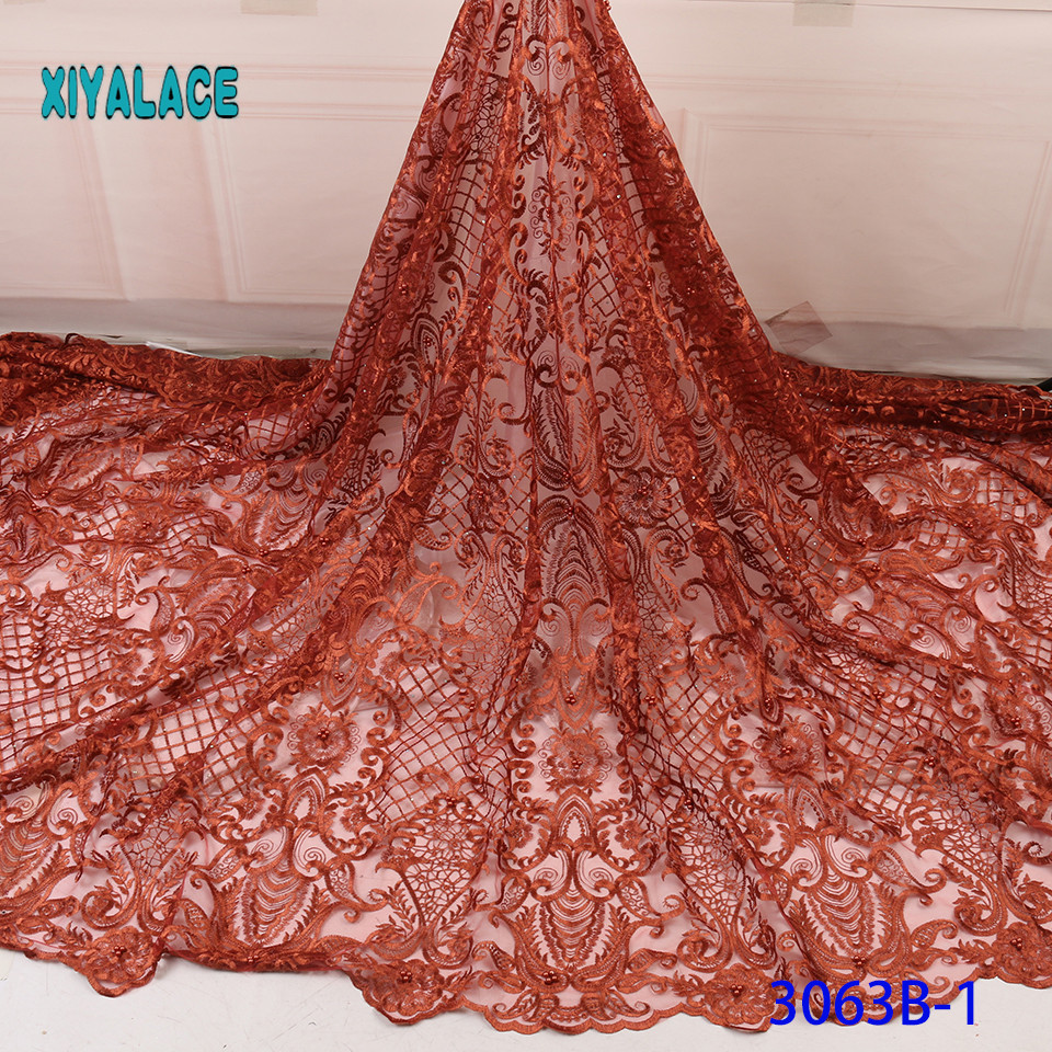 Embroidered Nigerian Lace Fabric High Quality 2019 Cotton African Lace Fabric French Lace Fabric Wedding Party Dress YA3063B-1