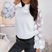 2020 Spring Long Sleeve Blouse Women Mesh Patchwork Blouse Shirt Casual Turtleneck Women Blouses Ladies Tops Tunic Blusas Mujer