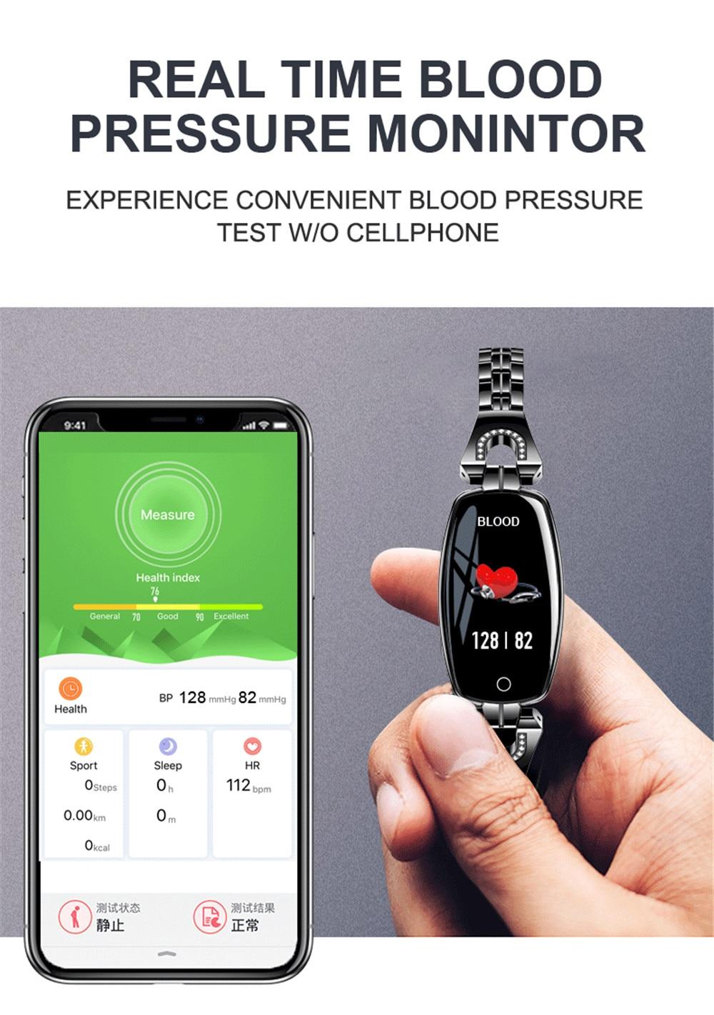 H3fe65bdce33b4b539621bbed419a79495 Greentiger H8 Smart Bracelet Women Activity Fitness Tracker Heart Rate Monitor Blood Pressure IP67 Waterproof Smart Wristband