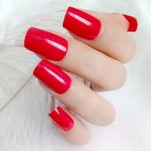 24 шт красный искусственные накладные ногти для дизайн женские