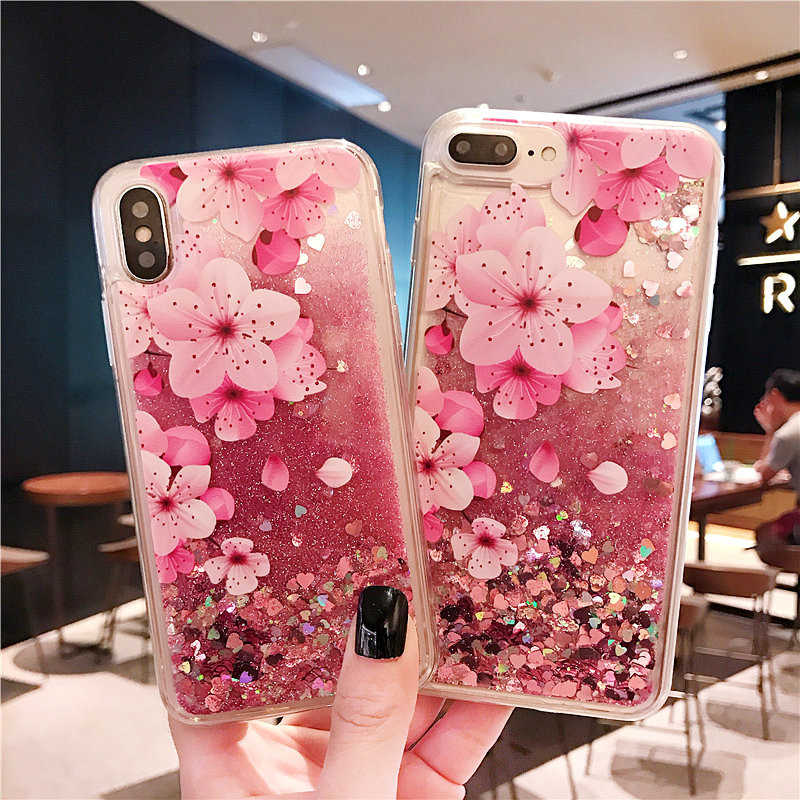 Flower Glitter Phone <font><b>Case</b></font> For <font><b>OPPO</b></font> A9 <font><b>2020</b></font> A11X water Dynamic Quicksand Liquid <font><b>Case</b></font> For <font><b>OPPO</b></font> <font><b>A5</b></font> <font><b>2020</b></font> Protective Back Cover Coque image