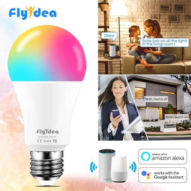 15W 똑똑한 전구 Dimmable WiFi LED 램프 E27 색깔 변화 램프 RGB 마술 전구 110V 220V app는 Alexa Google assistant를 운영한다