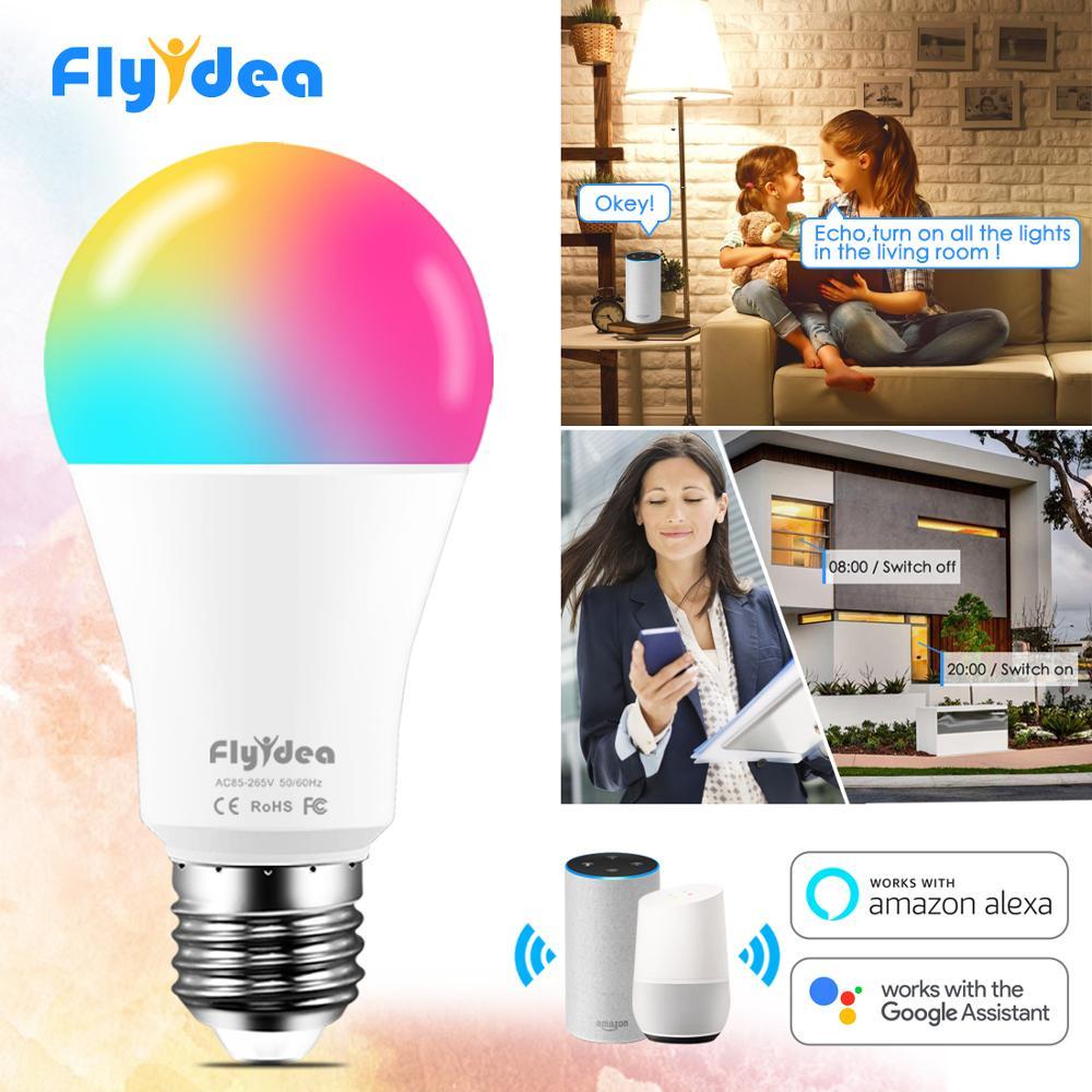 15W Smart Light Bulb Dimmable WiFi LED Lamp E27 Color Changing Lamp RGB Magic Bulb 110V 220V APP Operate Alexa Google Assistant