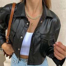 Женская короткая куртка из искусственной кожи, черная куртка на пуговицах с длинным рукавом, отложным воротником и карманами, верхняя одежд...