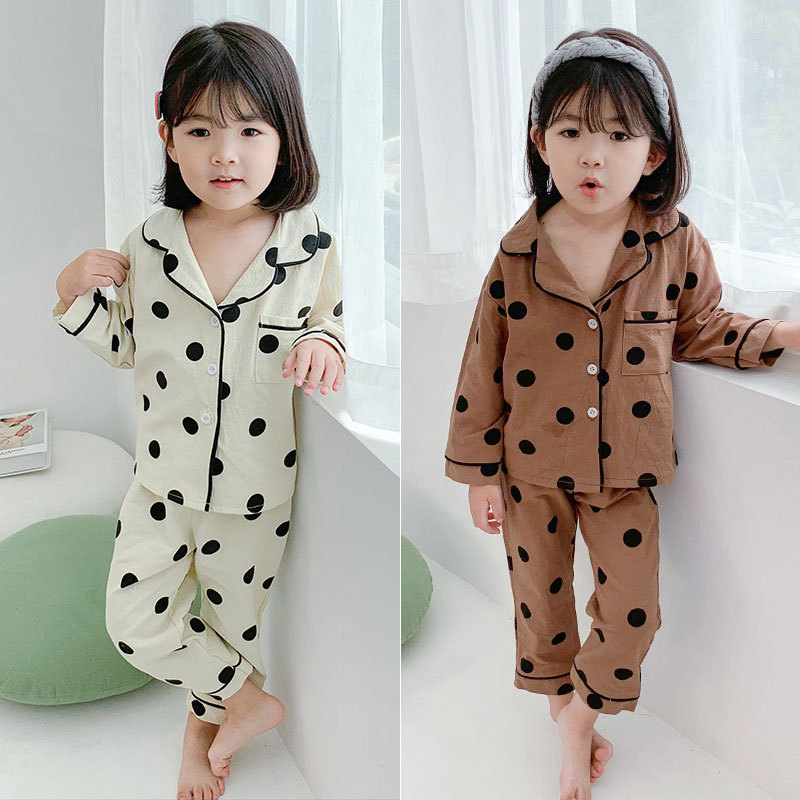 Boys And Girls Suits Polka Dot Casual Tracksuit Pajamas 19 Spring And Autumn New Style Childrenswear 3-8-Year-Old