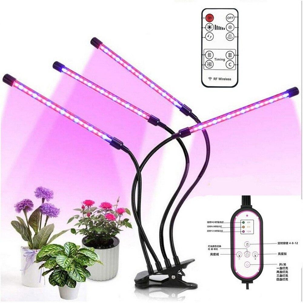 LED élèvent la lumière Phyto lampe spectre complet haute efficacité lumineuse Phytolamp pour les plantes dintérieur semis fleur croissance double minuterie