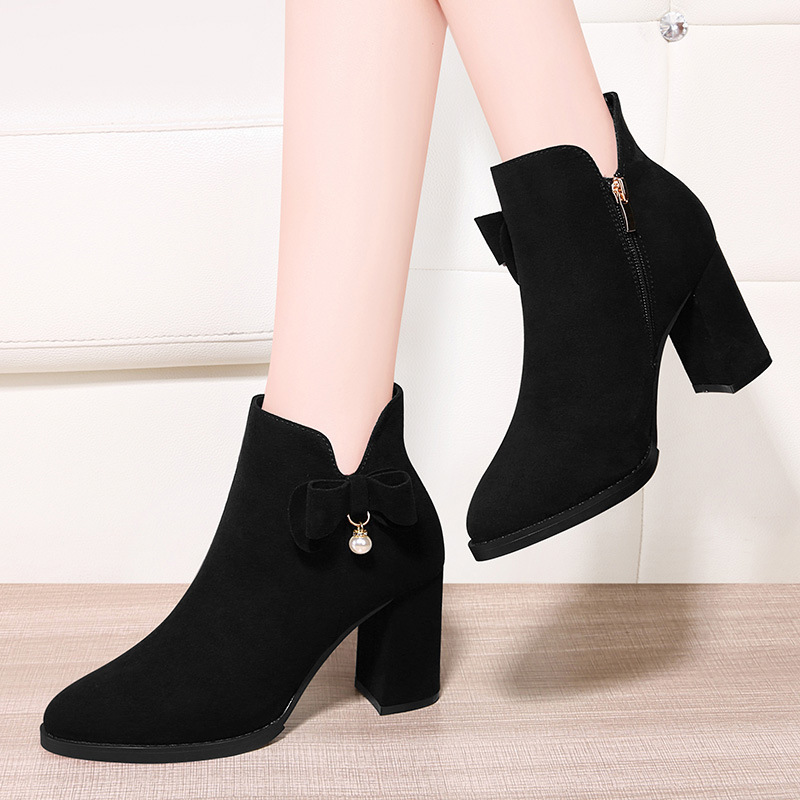 Gucci Tianlun Fashion Shoes Waterproof Platform round-Toe Chunky Heel plus Velvet Boots Side Zipper Solid Color Short Boots Sub-