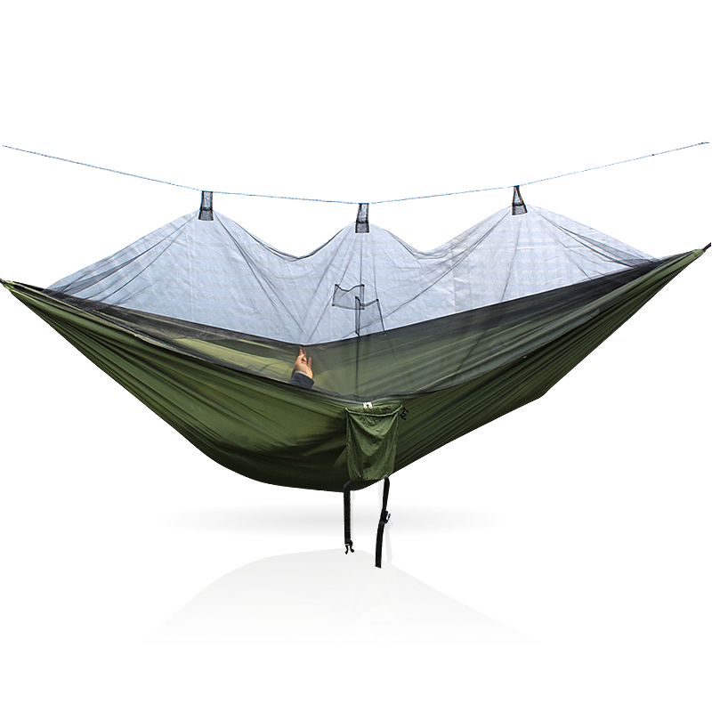 Camping Hammock Hanging-Bed Parachute Fabric Mosquito-Net Sleeping-Swing Hunting Outdoor