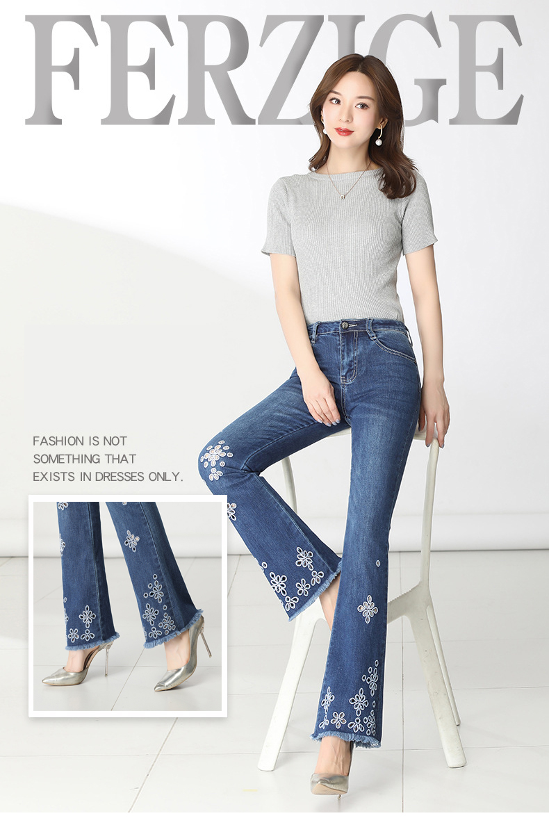 KSTUN FERZIGE High Waisted Jeans Women Stretch Blue Embroidery Woman Flares Bell-bottomed Pants Hollow Out Mom Jeans Plus Size 36 11