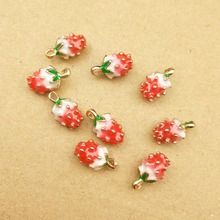 10pcs enamel strawberry charm for jewelry making earring pendant bracelet and necklace charm