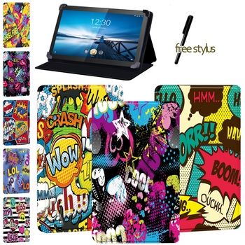 Tablet Fall für Lenovo Tab M10/Smart Tab (M10/M10 LTE)/Smart Tab (M8/M8 LTE) -Staub-proof Graffiti Leder Abdeckung Fall + Stylus