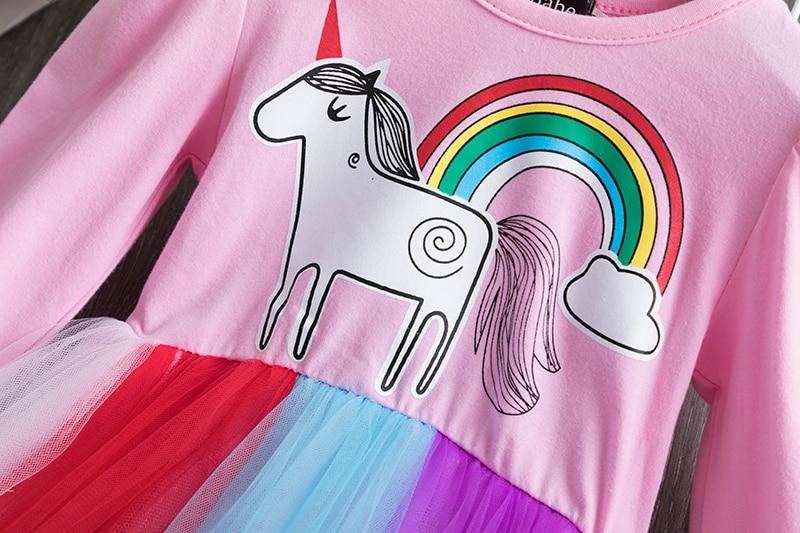 H3fe6ca822de242cf94f7471c405ebfe91 3-8 Years Girls Dress Long Sleeve Kids Unicorn Party Vestidos Fancy Children Princess Dresses Kids Birthday Dress For Girl