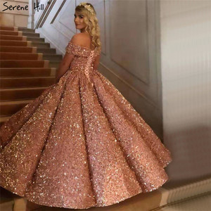 Image 3 - Dubaj Sweetheart Sexy zielone luksusowe suknie ślubne 2020 cekinami Off ramię suknie ślubne Serene Hill HM66991 Custom Made