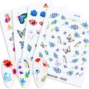 Harunouta kwiat liście woda naklejka do paznokci lato prosta kolorowa niebieska woda naklejki sukienka suwak naklejki foliowe na paznokcie okłady DIY dekoracja
