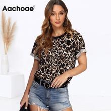 Женская летняя футболка модная леопардовая футболка с коротким рукавом повседневные топы футболки Плюс Размер Сексуальная уличная футболка