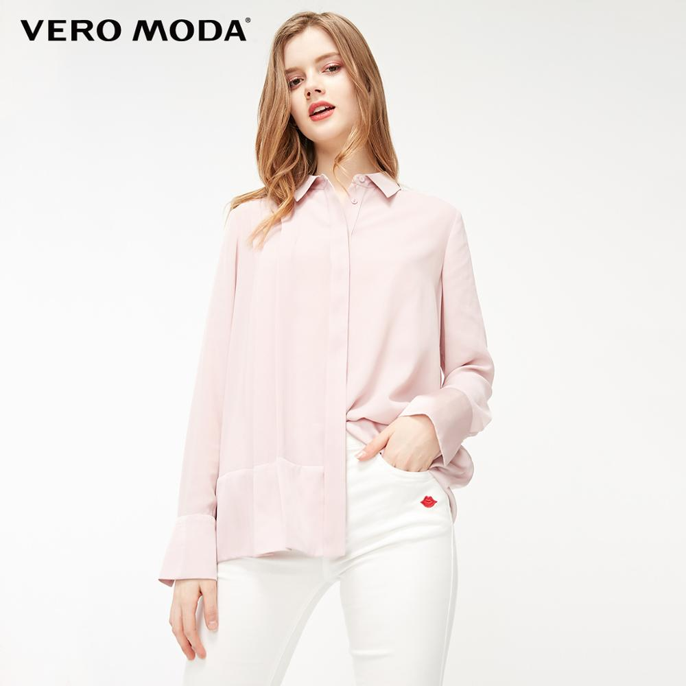 Vero Moda Women's OL Style Spliced Fabric Pleated Blouse | 319131508