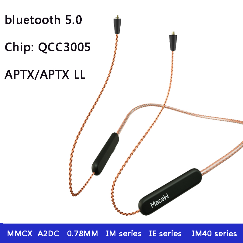 Macaw TE10-60X 8 Core Apt-x ll Bluetooth 5.0 Earphone <font><b>2pin</b></font> <font><b>0.78</b></font> MMCX A2dc Aptx Replacement <font><b>Cable</b></font> For Shure Se215 ie80 with mic image