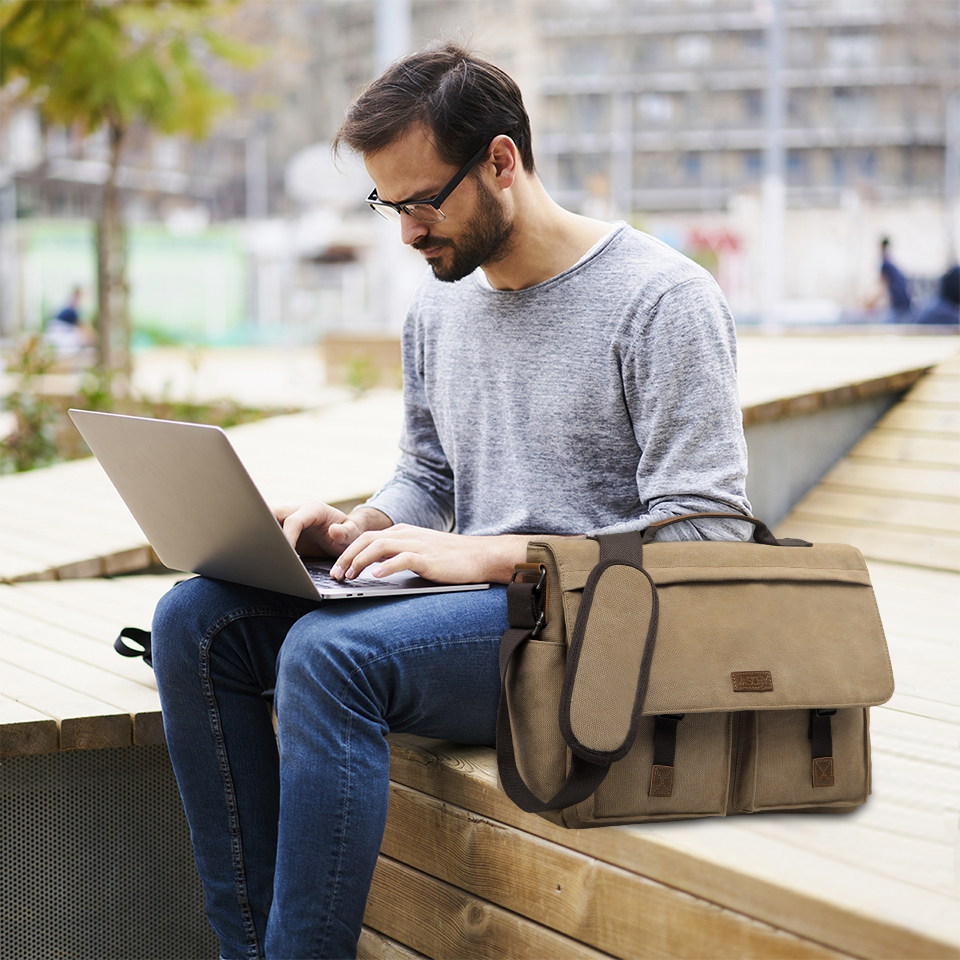 H3fe72c965b9b4bb6b173e4939d7f4505V VASCHY Messenger Bag for Men Vintage Water Resistant Waxed Canvas 15.6 inch Laptop Briefcase Padded Shoulder Bag for Men Women