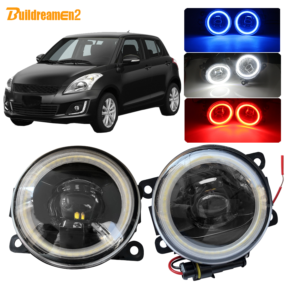 Buildreamen2 For Suzuki Swift MZ EZ Hatchback 2005-2015 Car H11 LED Fog Light Assembly Angel Eye DRL Daytime Running Light 12V(China)