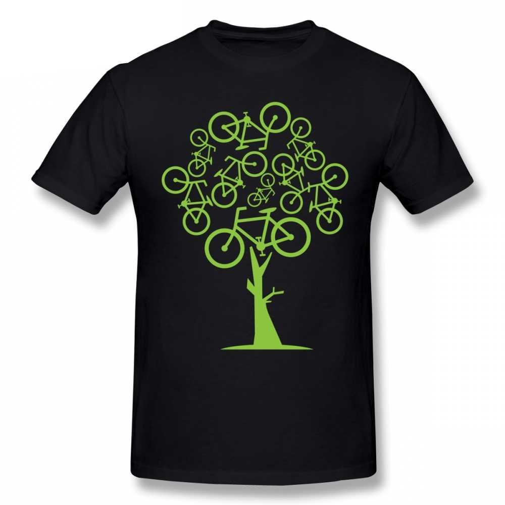 ศิลปะภาพสีเขียวจักรยานTreeสำหรับSlim Fit Swag PlusขนาดTee Camisetaคริสต์มาสของขวัญTshirtผ้าฝ้ายผ้า