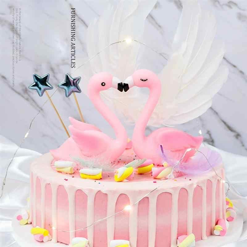 2 Pcs Rosa Flamingo Bolo Decoracao Casais Bolo Topper Festa De