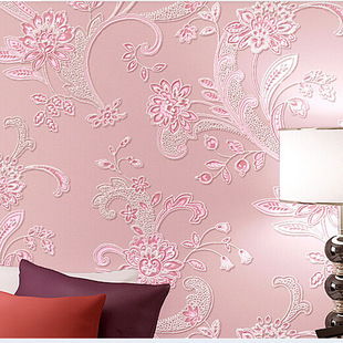 Simple 3D Pastoral Style Big Flower Non-woven Wallpaper Pink Romantic Bedroom GIRL'S Room Marriage House Wallpaper