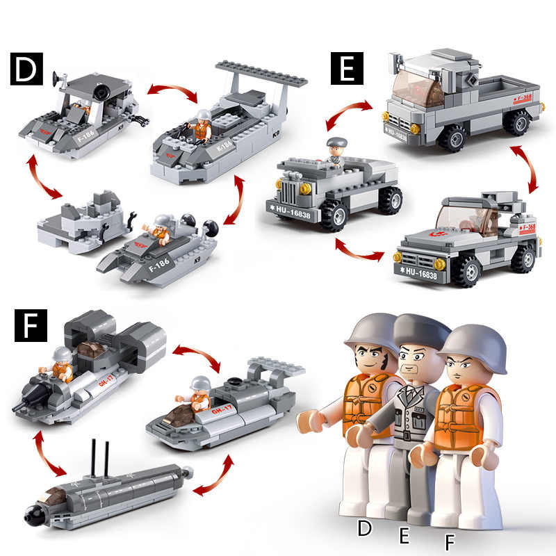 9in1 1001PCS caccia Militare Trasportini Aria di Mare E di Terra Building Block Corpo Militare la nave giocattoli per il regalo dei bambini figure