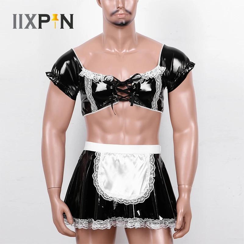 Homme Crossdress Soutien-Gorge Set Wetlook Cuir Crop Top Slips Sous-vêtements Nightwear Costume