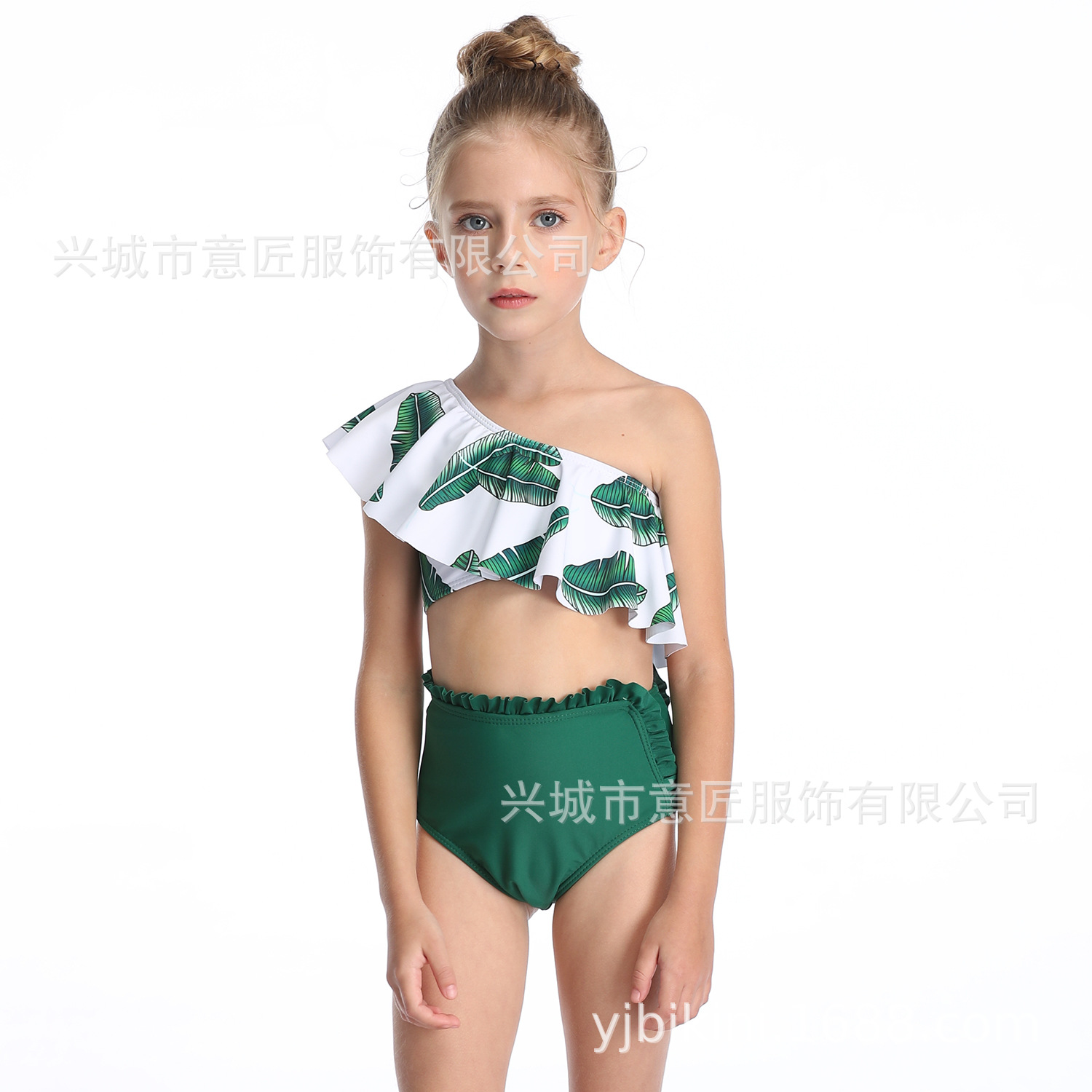 2020 New Style Europe And America Business CHILDREN'S Swimwear Split Printed Single Room High-waisted Bikini Flash