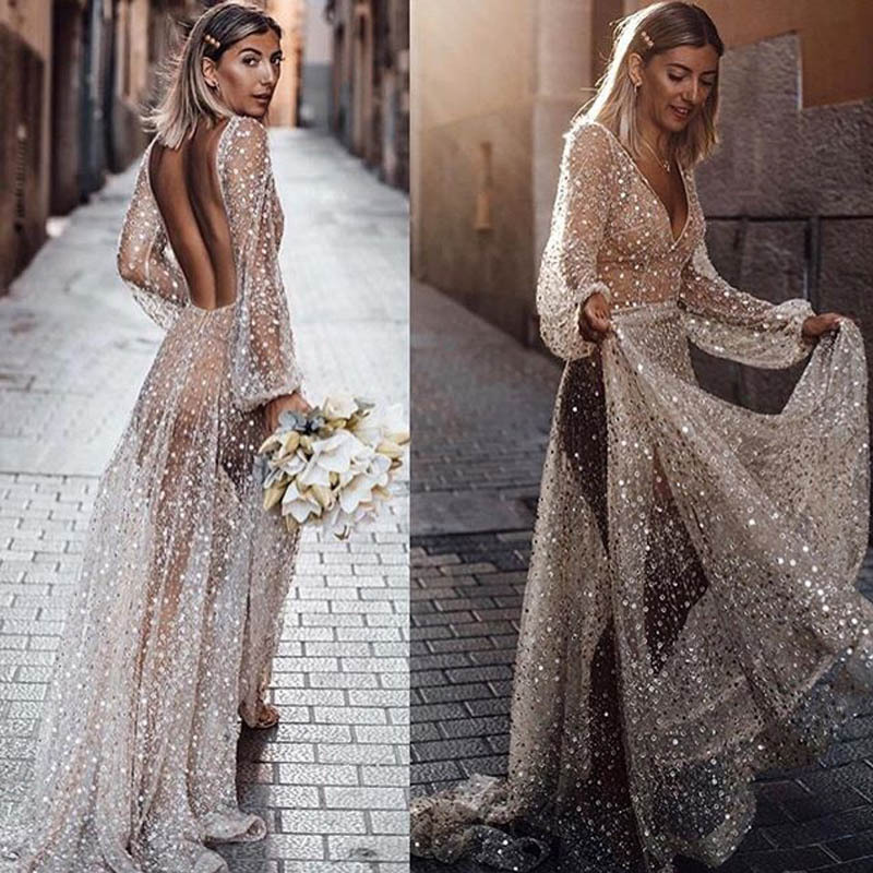 Linglewei New Spring and Summer Women's Dress New style dress popular sexy long sleeve perspective backless dress