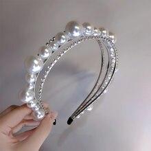 Barroco hairbands multicamadas pérola diamante headbands para as mulheres coreia do cabelo acessórios para o cabelo faixa arcos coroa hairbands