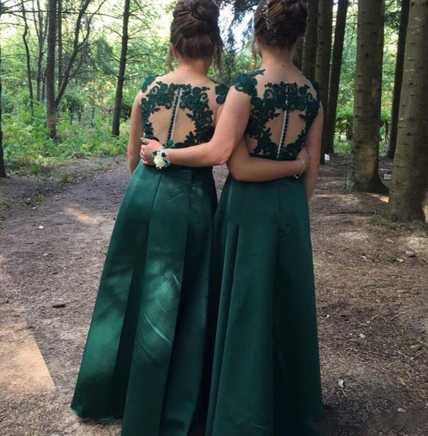 YiMinpwp Country Dark Green Bridesmaid Dresses Sheer Neck Illusion Appliques Floor Length Bohemian Beach Wedding Guest Gowns
