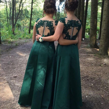 YiMinpwp Country Dark Green Bridesmaid Dresses Sheer Neck Il