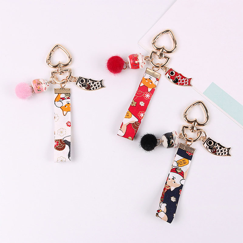 Cute Mini Lucky Cat Animal Car Keychain Bag Charm Men Women Jewelry 2019 Fashion Fish Pendnat Couple New Year Keyring Gifts