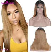 HALOQUEEN 1B/27 Ombre Color Lace Front Wig Remy Human Hair Wigs