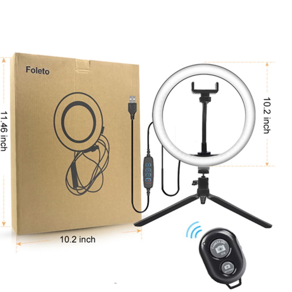 Rovtop 10 Inch Selfie Ring Light with Ring Stand for iPhone Tripod and Phone Holder for Video Photography 15