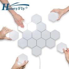 HoneyFly Tự Làm Khâu Cảm Ứng Cảm Biến Hồng Ngoại Gắn Tường 110V 240V Lục Giác Tổ Ong Lượng Tử Đèn LED Dán Tường Trang Trí