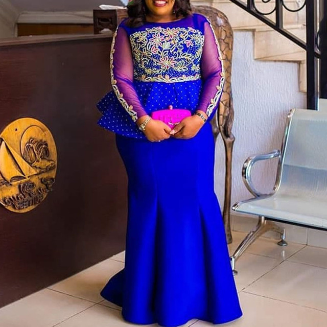 Mermaid Evening Party Dress 2019 Long Plus Size XXL-5XL Mesh Long Sleeve Peplum Ruffles Vestidos Africa Women Maxi Dress Elegant 2