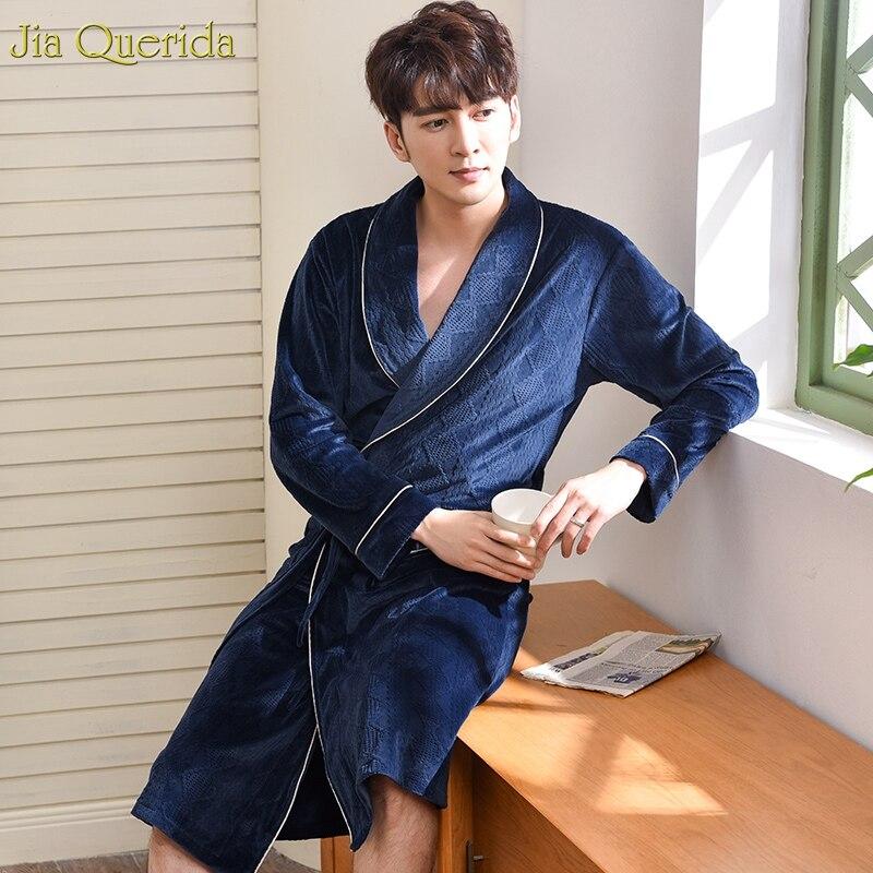 Winter Men Robes Bath Home Dressing Gown Royal Blue Super Soft Island Velvet Belted Velvet Kimono Japanese Long Sleeves Kimono