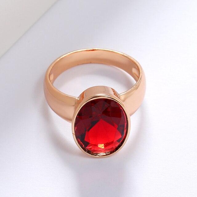 Luala vintage oval vermelho/verde natural pedra zircão anel para as mulheres rosa anéis de ouro indiano dubai jóias acessórios de casamento 4