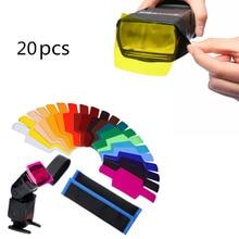 20 pièces Flash Speedlite couleur Gels filtres pour appareil photo Canon Gels photographiques filtre Flash Speedlite Speedlight